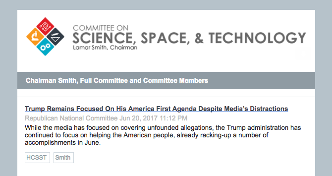 House Science Committee Flouts Ethics Rules By Promoting RNC Press Release As News