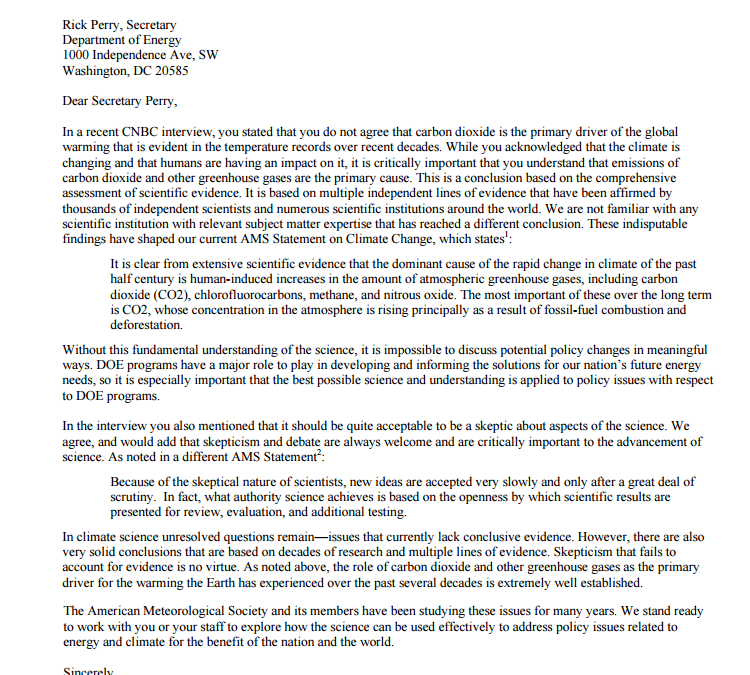 The American Meteorological Society @ametsoc falls into the consensus trap in a letter to Rick Perry