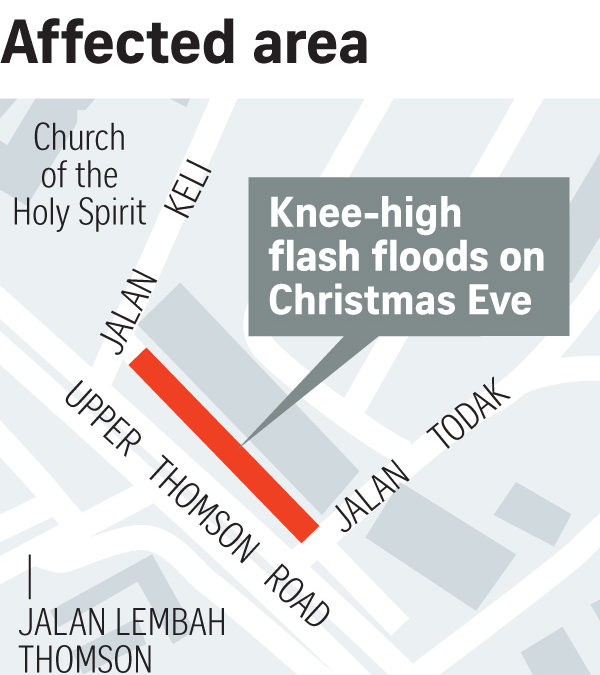 Choked drain at MRT worksite caused Thomson flash flood on Christmas Eve